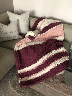 Healing Hand Knit, Chunky Knit Blankets Raspberry Delight
