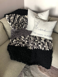 Healing Hand, Chunky Knit Blankets Monochrome Black Grey Mix