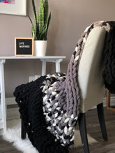 Load image into Gallery viewer, Healing Hand, Chunky Knit Blankets Monochrome Black Grey Mix