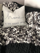 Load image into Gallery viewer, Healing Hand, Chunky Knit Blankets Black & Camo Mix
