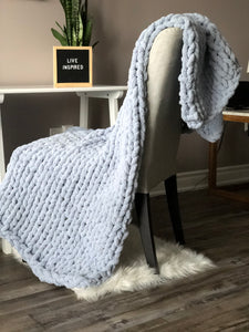 Healing Hand, Chunky Knit Blankets Light Blue