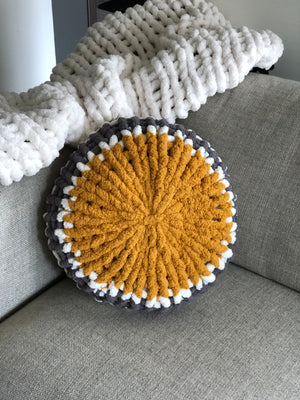 "18"" Bullworth Mustard (Style B) Chunky Knit Circle Throw Pillow"