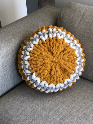 "18"" Mustard and Sky Grey Chunky Knit Circle Throw Pillow"