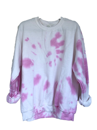 Pink Violet Tie-Dyed Crew Neck Sweatshirt - Adult Large