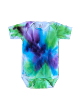 Load image into Gallery viewer, Tie Dyed Baby Onesie! Purple, Green, Blue Watercolour 6-12 month