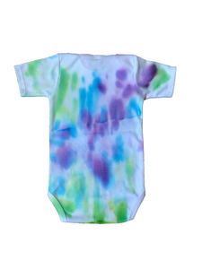 Tie Dyed Baby Onesie! Purple, Green, Blue Watercolour 6-12 month