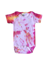 Load image into Gallery viewer, Tie Dyed Baby Onesie! Light Pink and Orange 3-6 month