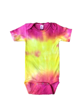 Load image into Gallery viewer, Tie Dyed Baby Onesie! Pink and Yellow 3-6 month