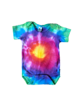 Load image into Gallery viewer, Tie Dyed Baby Onesie! Bright Bullseye Design 0-3 month