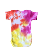Load image into Gallery viewer, Tie Dyed Baby Onesie! Pink, Orange and Yellow 0-3 month