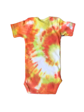 Load image into Gallery viewer, Tie Dyed Baby Onesie! Orange and Yellow Swirl Design 3-6 month
