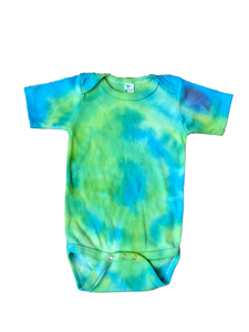 Tie Dyed Baby Onesie! Green and Blue 6-12 month