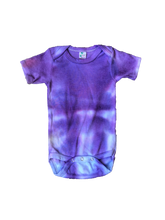 Load image into Gallery viewer, Tie Dyed Baby Onesie! Purple and Blue 3-6 month