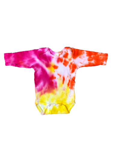Tie Dyed Baby Onesie Long sleeve! Pink, Yellow and Orange 0-3 month