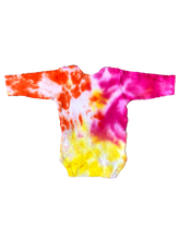 Load image into Gallery viewer, Tie Dyed Baby Onesie Long sleeve! Pink, Yellow and Orange 0-3 month