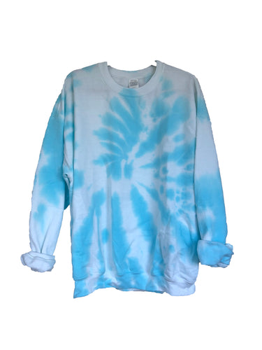 Cloud Blue Tie-Dyed Crew Neck Sweatshirt - Adult X-Large