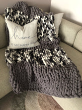Load image into Gallery viewer, Healing Hand, Chunky Knit Blankets Grey Camo