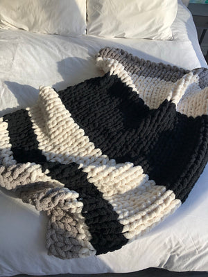 Healing Hand, Chunky Knit Black, White and Grey Stripes