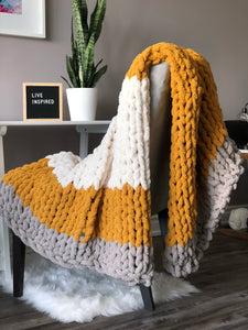 Healing Hand, Chunky Knit Blankets Mustard