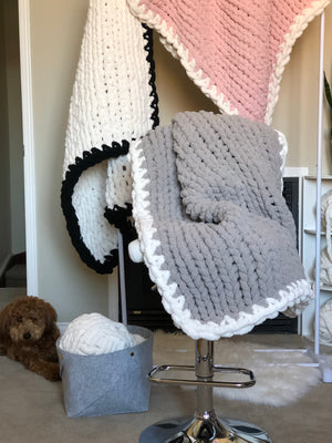 Healing Hand, Chunky Knit Baby Blankets - Sky Grey with White Edge