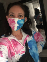Load image into Gallery viewer, Blue & Pink Crayon Melt Face Mask