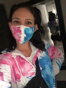 Blue & Pink Crayon Melt Face Mask