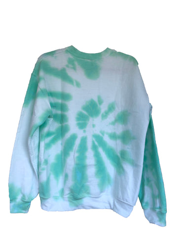 Mint Green Tie-Dyed Crew Neck Sweatshirt - Adult Medium