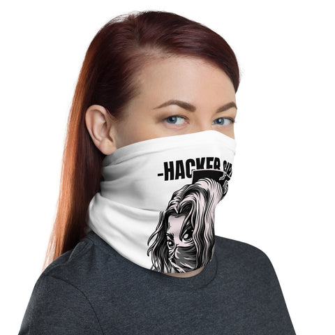 Hacker Girl - Neck Gaiter (black text)