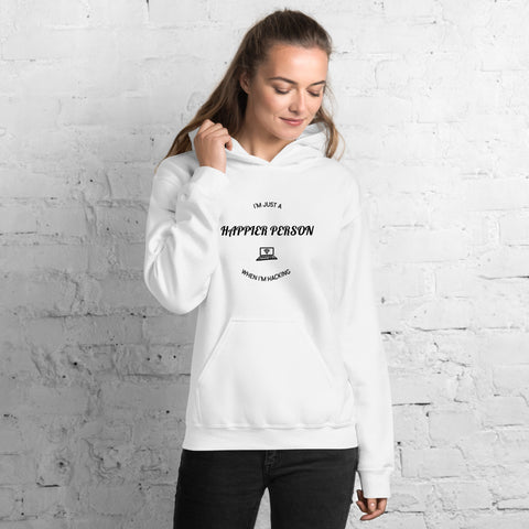 I'm a happier person when I'm hacking - Unisex Hoodie (black text)