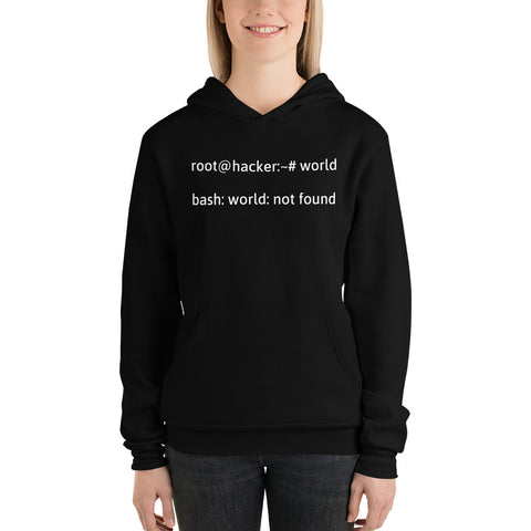 root@hacker:~# world  bash: world: not found - Unisex hoodie
