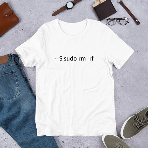sudo rm -rf  - Short-Sleeve Unisex T-Shirt (black text)