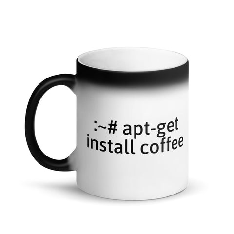 """apt-get install coffee"" Hacker Mug (Matte Black Magic)"