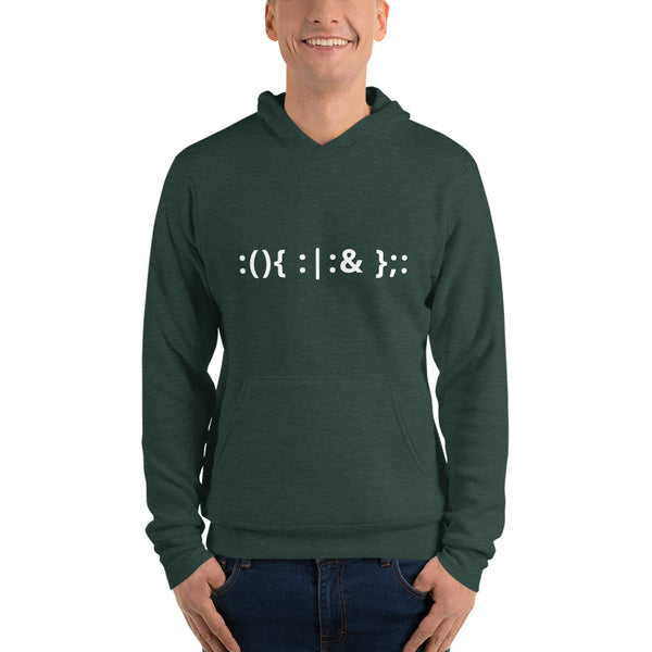 Linux Hackers - Bash Fork Bomb - White Text Unisex hoodie