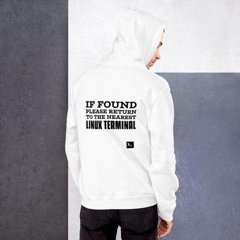 If found please return to the nearest linux terminal - Unisex Hoodie (black text)