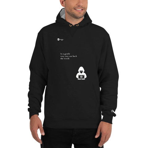 You can hack the world - Champion Hoodie (white text)