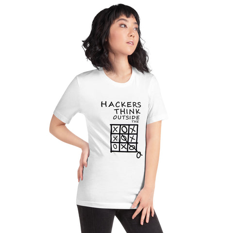 Hackers think outside the box - Short-Sleeve Unisex T-Shirt (black text)