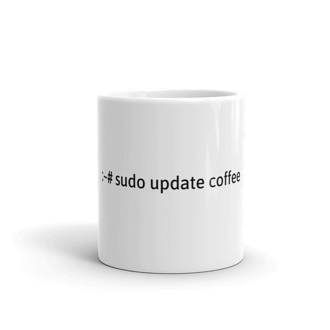 """sudo update coffee"" Hacker Mug (White)"
