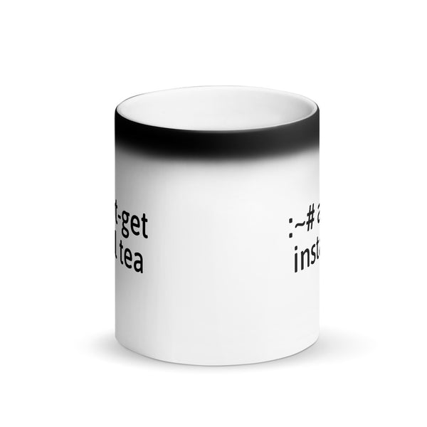 """apt-get install tea"" Hacker Mug (Matte Black Magic)"