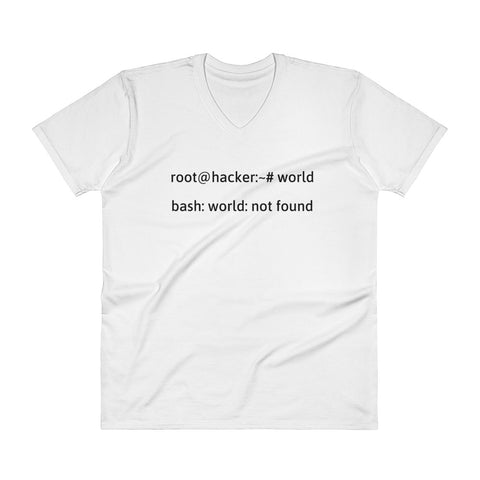 Linux Tweaks - world not found - V-Neck T-Shirt (black text)