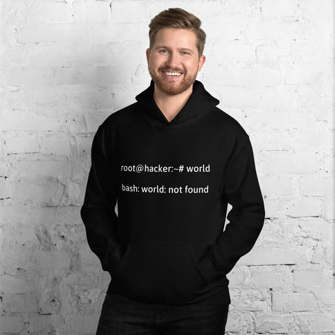 root@hacker:~# world  bash: world: not found - Hooded Sweatshirt (white text)