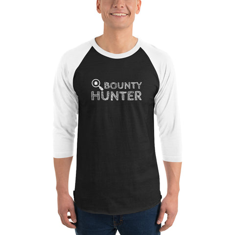 Bug bounty hunter - 3/4 sleeve raglan shirt (white text)