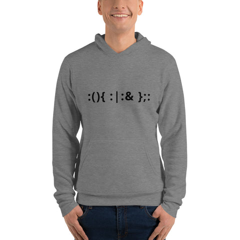 Linux Hackers - Bash Fork Bomb - Black Text Unisex hoodie