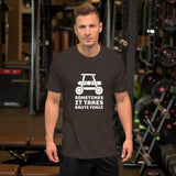 Sometimes it takes brute force - Short-Sleeve Unisex T-Shirt (white text)