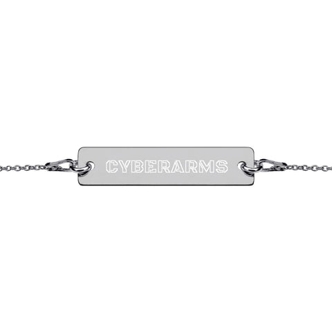 CyberArms - Engraved Silver Bar Chain Bracelet (outlined)