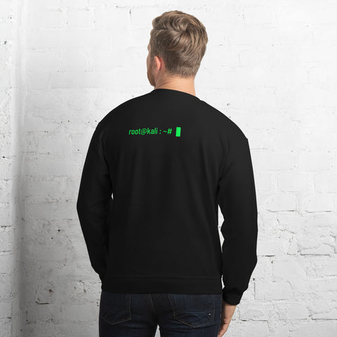 root@kali : ~# - Unisex Sweatshirt (green text)