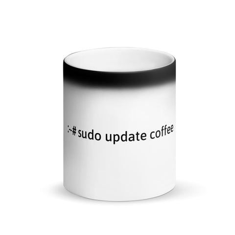 """sudo update coffee"" Hacker Mug (Matte Black Magic)"