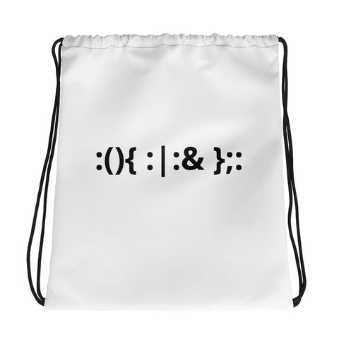 Linux Hackers - Bash Fork Bomb - Black text Drawstring bag