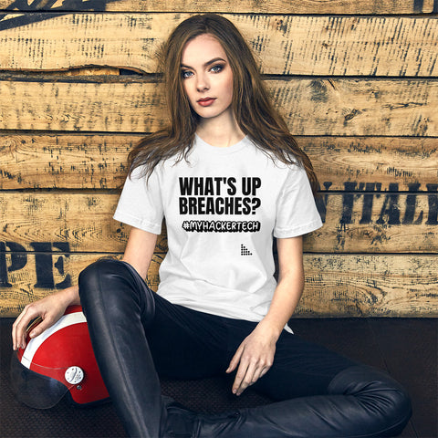 What's up breaches?  - Short-Sleeve Unisex T-Shirt (black text)