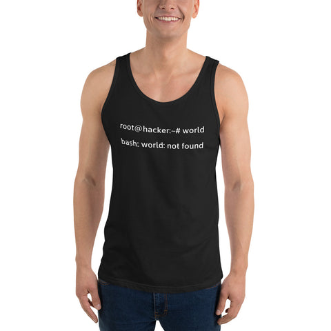 Linux Tweaks - world not found - Unisex  Tank Top (white text)