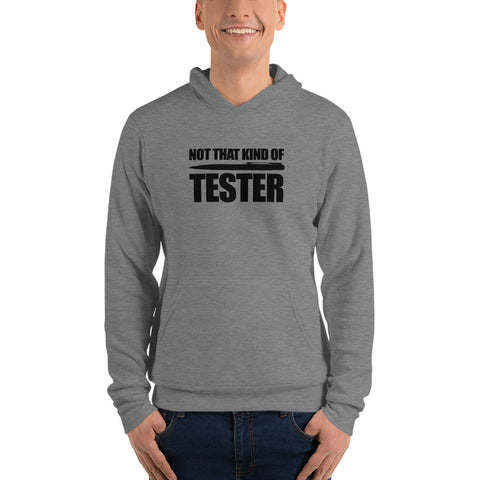 Not that kind of pen tester - Unisex hoodie (black text)